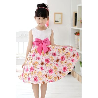Fashionable Floral Print Bowknot Design Sleeveless Dress For Girl