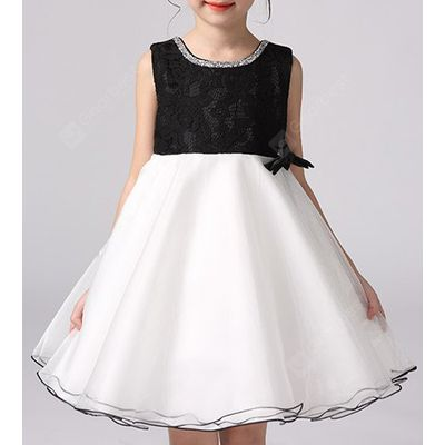 Sweet Sleeveless Round Neck Ball Gown Bowknot Girl's Dress