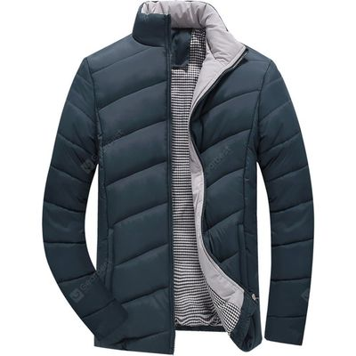 Stand Collar Zipper-Up Quilted Jacket