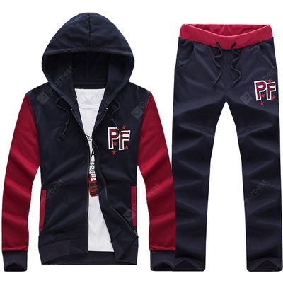 Embroidered Patch Contrast Panel Hoodie and Drawstring Pants Twinset