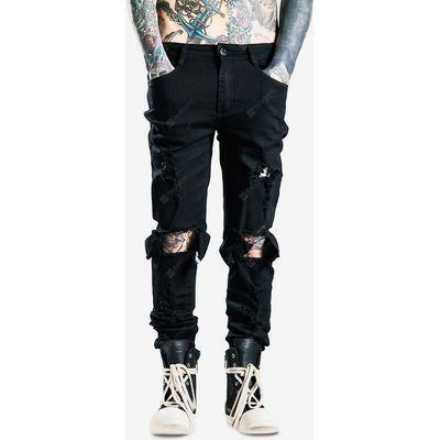 Male Fashionable Korean Street Style Ripped Denim Pants