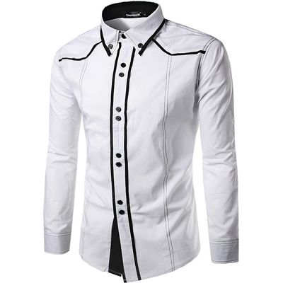 Men Button Down Long Sleeve Splicing Shirt
