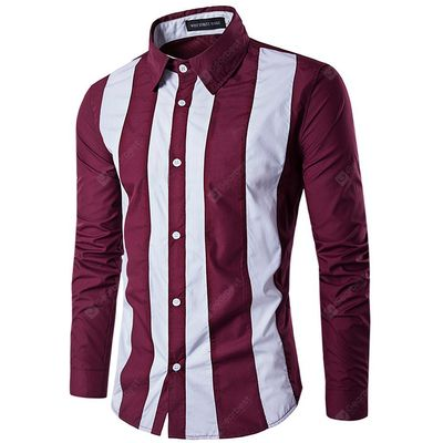 Men Casual Button Down Long Sleeve Striped Shirt