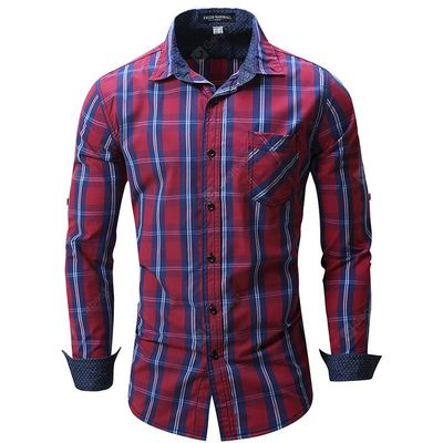 Male Slim Fit Gingham Long Sleeve Shirt