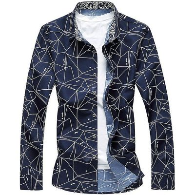 Male Printed Slim Fit Long Sleeve Shirt