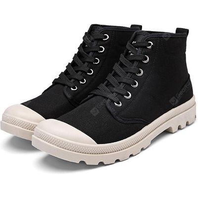 Male Stylish Solid Color Canvas High Top Leisure Shoes