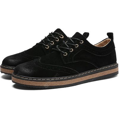Male Casual Hollow Gradient Round Toe Leather Shoes