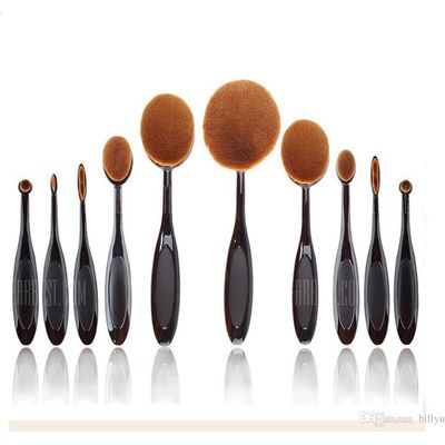 TODO 10pcs All in One Professional Oval Makeup Brushses