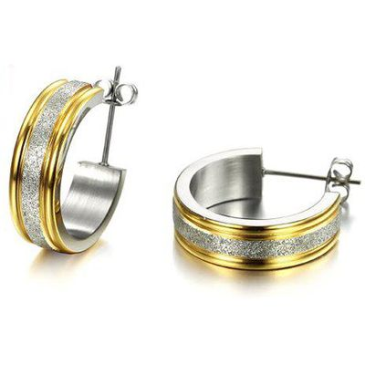 Pair of Alloy Circle Dull Polished Earrings