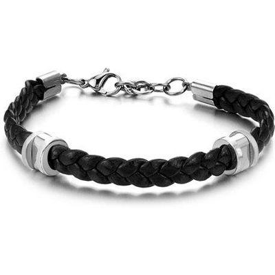 Stylish Leather Braided Link Bracelet For Men