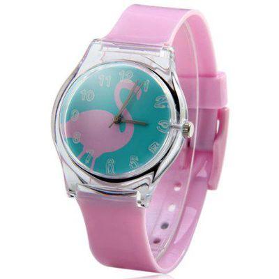 Red-crowned Crane Pattern Female Quartz Watch Round Dial Plastic Watchband