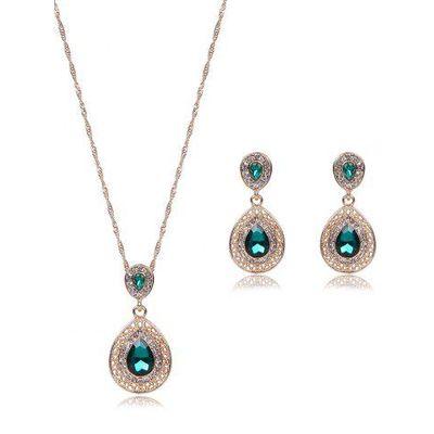 Faux Gem Hollowed Teardrop Jewelry Set