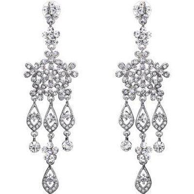 Rhinestone Snowflake Chandelier Earrings