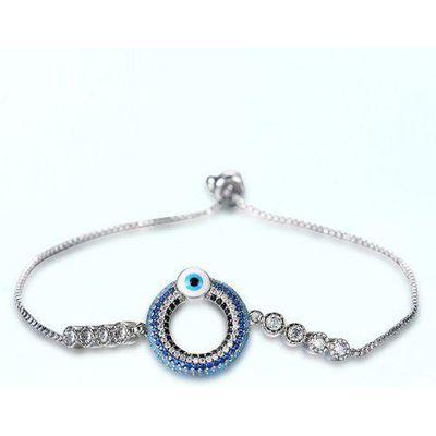Bead Evil Eye Rhinestone Bracelet