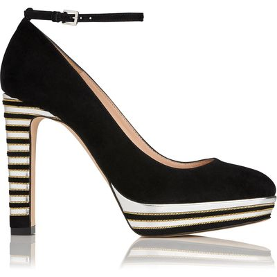 Sevina Black Suede Courts