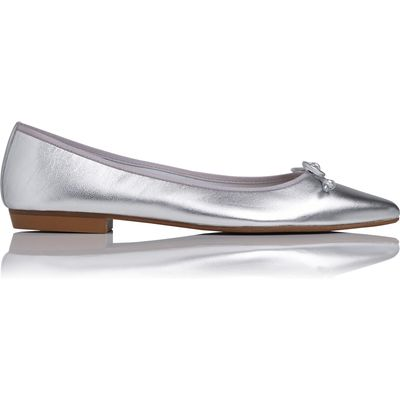 Cici Silver Metallic Leather Flats