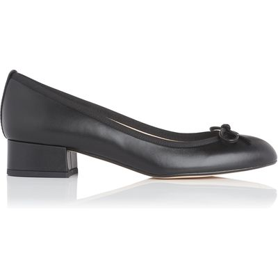Danielle Black Leather Block Heel Courts