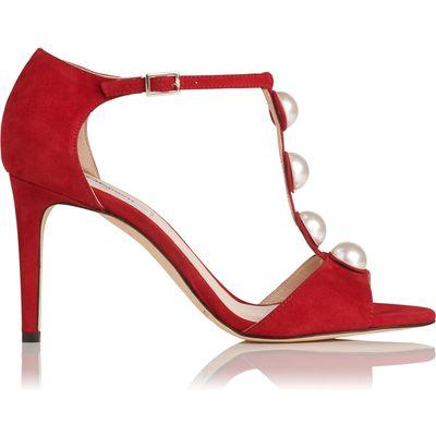 Alejandra Roca Red Suede Formal Sandals