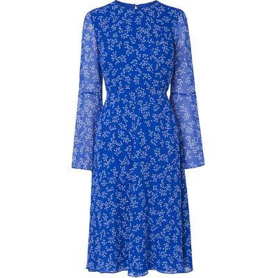 Cecily Blue Silk Printed Dress