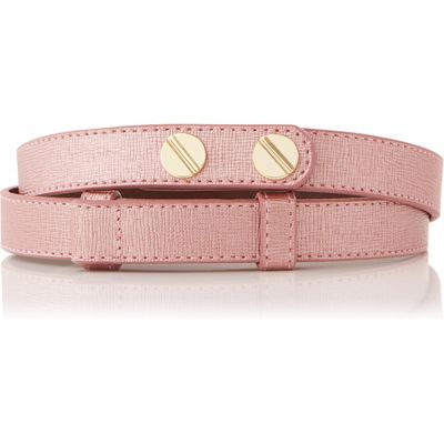 Zahara Metallic Pink Saffiano Leather Belt