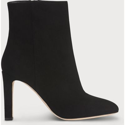 Edelle Black Suede Ankle Boots
