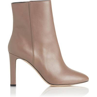 Edelle Grey Leather Ankle Boots
