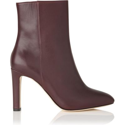 Edelle Oxblood Leather Ankle Boots