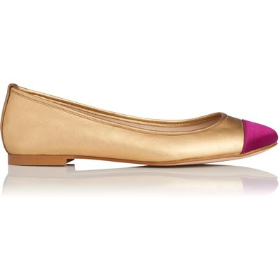 Suzanne Gold Metallic Leather Flats