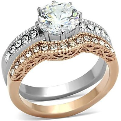 IP Rose Gold and Stainless Steel Filigree Style Round CZ Wedding Set