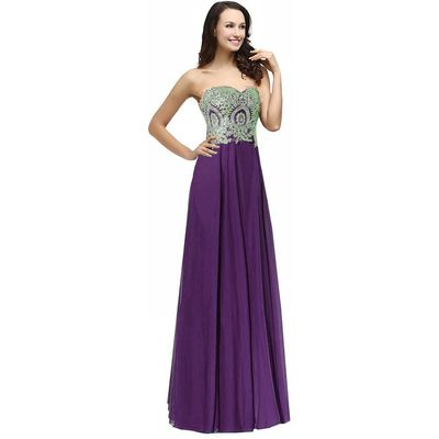Kivary Gold Lace Crystals Long A Line Beaded Formal Chiffon Prom Evening Dresses