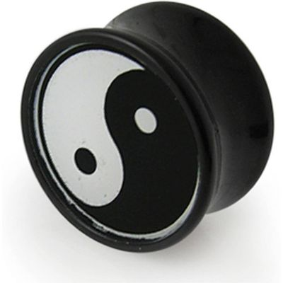Yin Yang transparent Logo with Black UV Double Flared Tunnels Ear Plug
