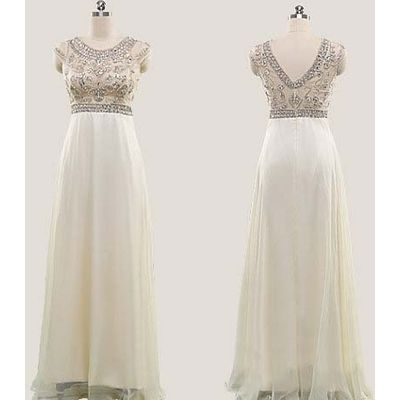 Modest Arabic Rhinestone Beige cap sleeve Homecoming Evening Prom Party Dress