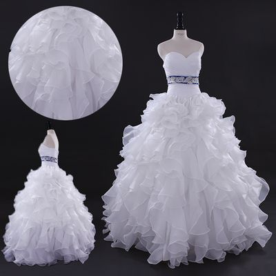 Ruffled organza corset plus size ball gown puffy Bridal Gown Wedding Dress Bride