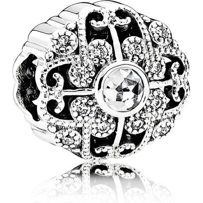 925 Sterling Silver Fairytale Bloom with Clear CZ Charm Bead QJCB976