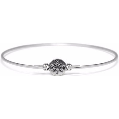 Silver Compass Bracelet, Thin Silver Plated Compass Bangle Bracelet