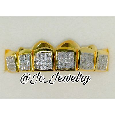6 Top Or 6 Bottom Yellow Gold Grill With Princess Cut Lab Diamonds