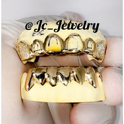 6 Top & 6 bottom - Iced Out Fangs Solid Gold Grillz in 10k, 14k Or Silver Grillz