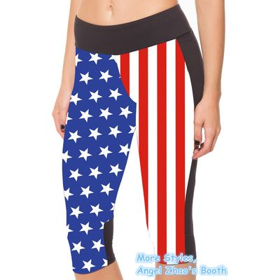 American Flag Stripes Cropped Leggings for Womens Short Pants Sport Gym Tights