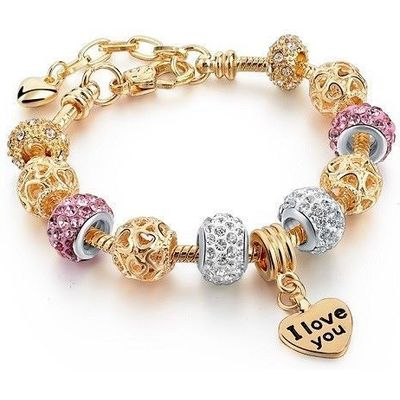 I Love You Heart European Charm Bracelet Pink and Clear Crystal Beads Charms