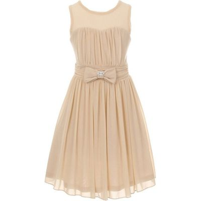Champagne Sleeveless Sweetheart Mesh Chiffon Illusion Neckline Flower Girl Dress