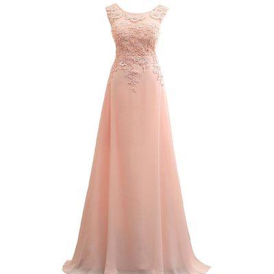 Lemai Long A Line Chiffon Lace Pearls Corset Sheer Prom Evening Dresses Blush...
