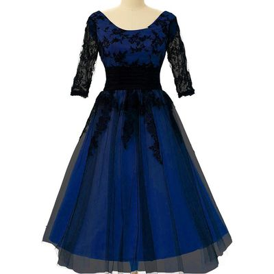 Lemai Black Lace and Royal Blue Short Sleeves Plus Size Short Prom Cocktail P...