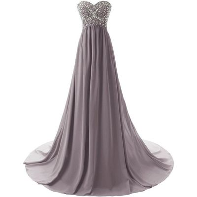 Lemai Shiny Beaded Long A Line Corset Chiffon Formal Crystals Prom Evening Dr...