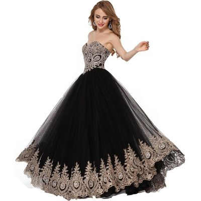 Lemai Black Tulle Gold Lace Crystals Corset Prom Evening Dresses Long Formal ...