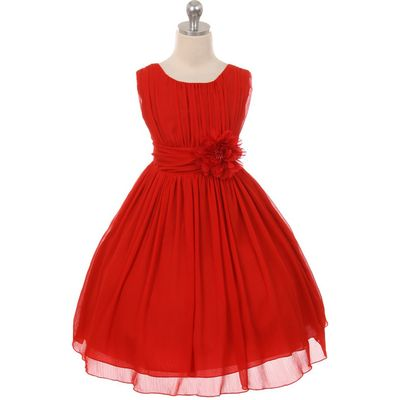 Red Round Neck Yoryu Chiffon Flower Girl Dresses Birthday Pageant Wedding