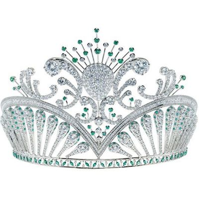 REAL NATURAL 120CTS DIAMONDS  EMERALDS TIARA QUEEN CROWN PARTY WEDDING JEWELRY