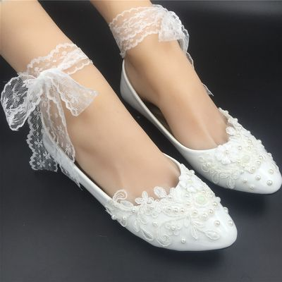Women Ribbon Style Bridal Ballet Flats/Wedding Flat Shoes with Lace Ankel Straps