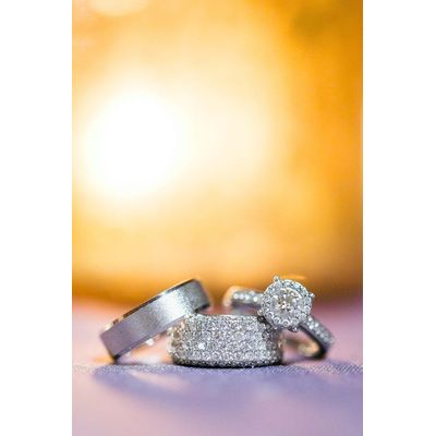 14K White Gold Round Pave Diamond Engagement Wedding 3pcs Trio Set His Hers 2CT