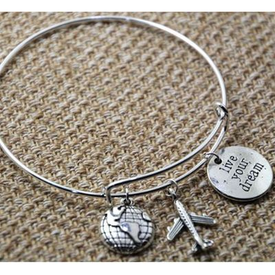LIVE YOUR DREAM - World Traveler Bangle Bracelet in Alex and Ani Style