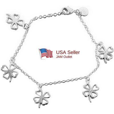 Shamrock Charm Bracelet Sterling  Silver Plated 4 Leaf Clover & Gift Box US SHIP